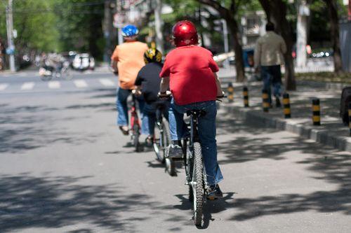 Beijing, China family bike ride