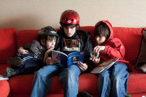 Reading with bike helmets
