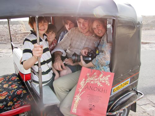 Family Photo squeezing in a rickshaw Jodhpur