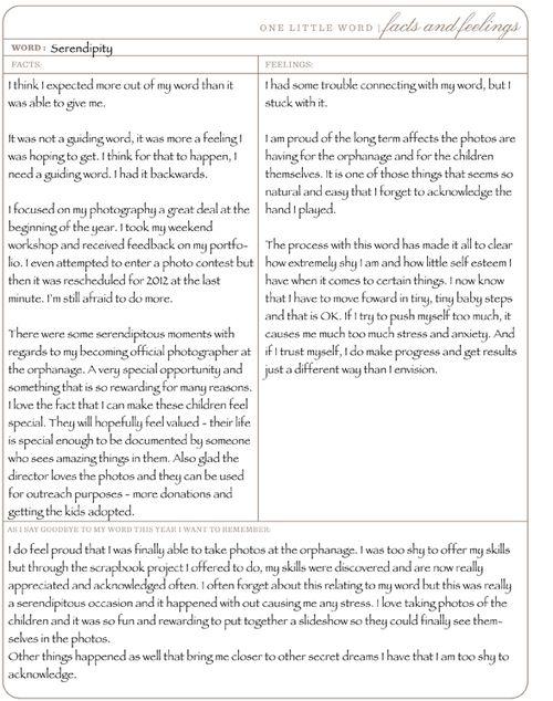 One Little Word December 2011 Assignment