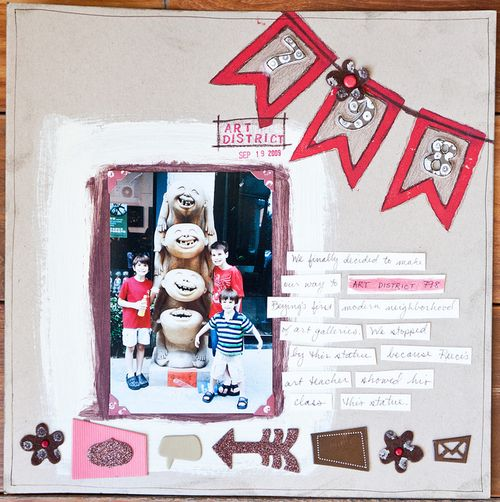 DIY Banner Stamp Scrapbook Layout