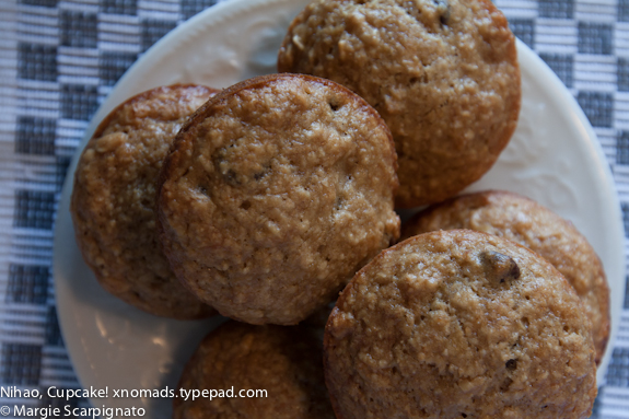 xnomads.typepad.com Banana Chocolate Chip Muffins with Oatmeal Recipe Top View