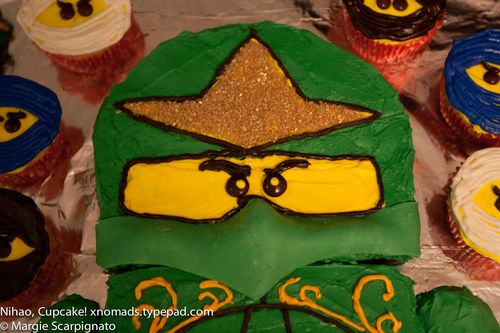 xnomads.typepad.com Lego Ninjago Mini Fig Cake tutorial finished helmet & eyes