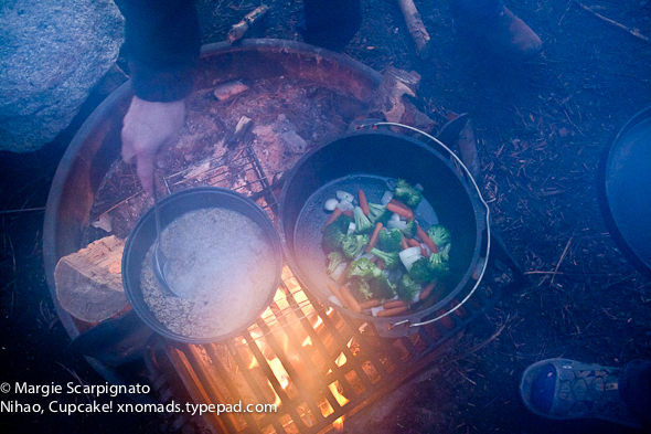 xnomads.typepad.com Camping Dutch Oven rice & vegetables