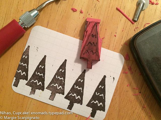 DIY stamp carving tree prints