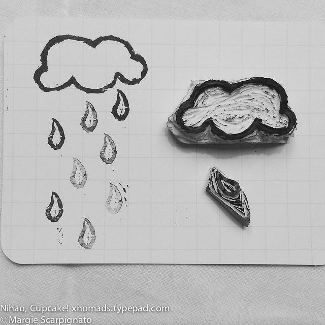 DIY stamp carving cloud and rain drip 3