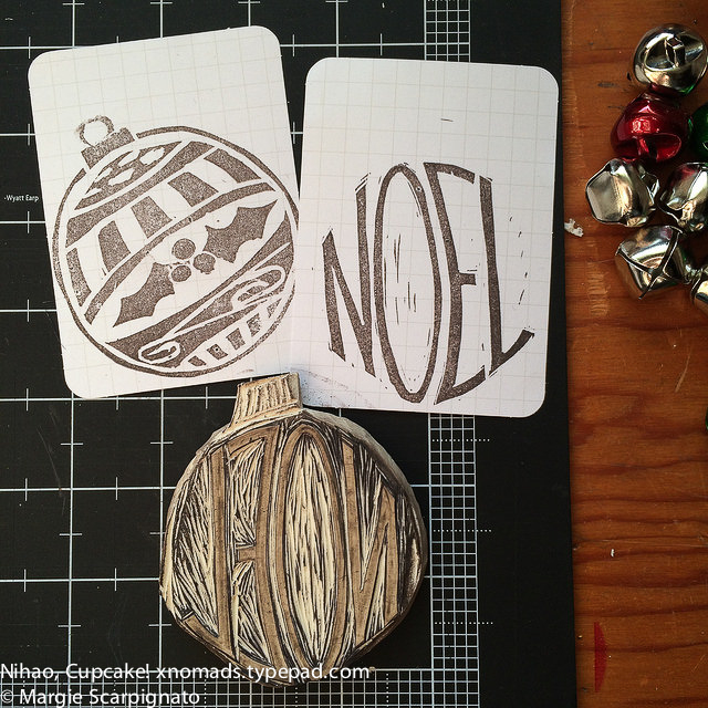DIY stamp carving Noel and ornament 4