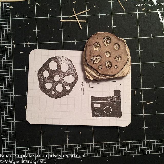 DIY Stamp Carving #CarveDecember-lotus root camera