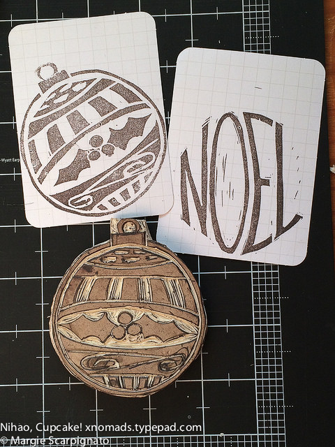 DIY stamp carving Noel and ornament 2