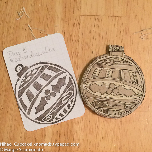 DIY stamp carving engraved Christmas ornament with impression